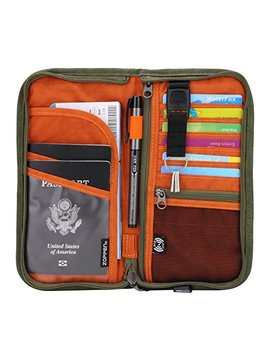 Zoppen Rfid Travel Passport Wallet & Documents Organizer Zipper Case With Removable Wristlet Strap by Zoppen