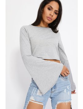 Grey Wide Sleeve Cropped Top by I Saw It First