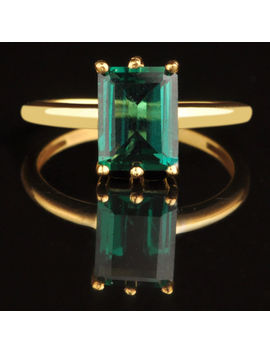 Real 14 Kt Yellow Gold Octagon Shape 1.40 Ct Natural Green Emerald Wedding Ring by Ebay Seller