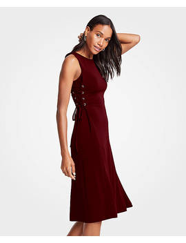 Petite Side Tie Knit Flare Dress by Ann Taylor