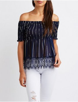 Striped Lace Off The Shoulder Top by Charlotte Russe