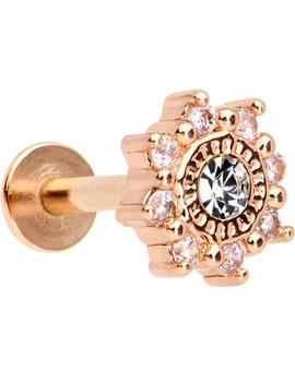 """1/4"""" Clear Cz Rose Gold Tone Starflake Cartilage Tragus Earring by Body Candy"""