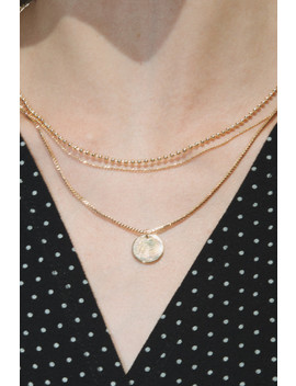 Triple Gold Chain Coin Necklace by Brandy Melville