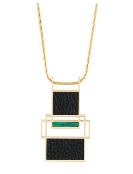 Long Leather & Malachite Pendant Necklace by Trina Turk