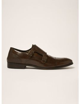 Brown Leather Throne Monk Shoes by Topman