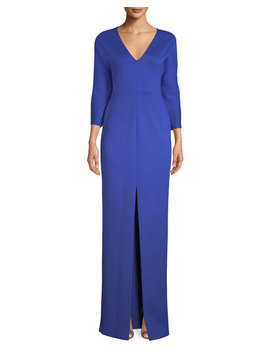Tilly V Neck 3/4 Sleeve Neoprene Column Gown by Black Halo Eve