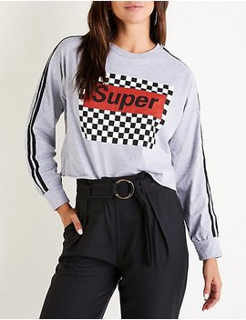 Checkered Racer Stripe Graphic Tee by Charlotte Russe