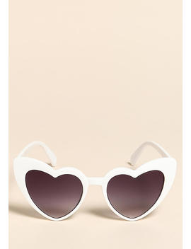 White Heart Cat Eye Sunglasses by Love Culture