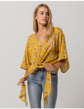 Polly & Esther Kimono Front Tie Mustard Womens Blouse by Polly & Esther