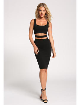 Black Waist Strap Cut Out Bodycon Dress by Love Culture