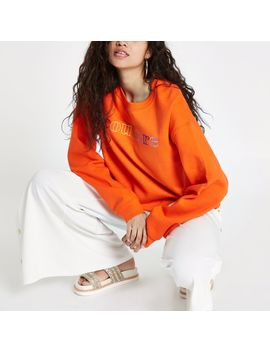 Orange 'couture' Cropped Sweatshirt by River Island
