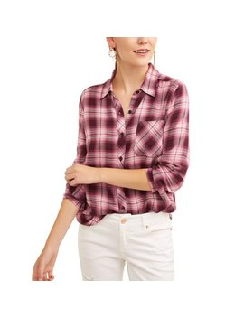 Women's Woven Plaid Shirt by Time And Tru