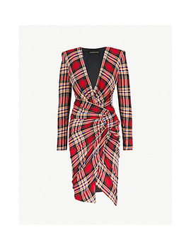 Plunging V Neck Tartan Woven Midi Dress by Alexandre Vauthier