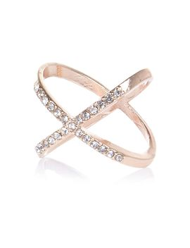 Rose Gold Tone Rhinestone Kiss Ring by River Island