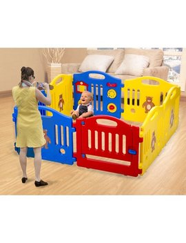 Baby Playpen Kid 8 Panel Safety Play Center Yard Baby Playpen Kids Home Indoor Outdoor Pen by Fdw