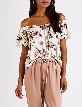 Floral Crochet Off The Shoulder Top by Charlotte Russe