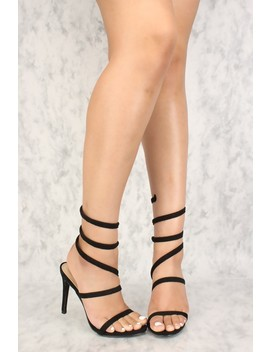 Sexy Black Coil Open Toe Single Sole High Heels by Ami Clubwear