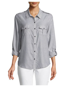 Dumas Pinstriped Button Front Shirt by Joie