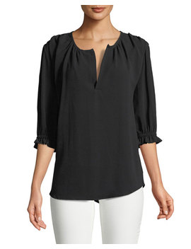 Split Neck Ruffle Sleeve Blouse by Melissa Masse