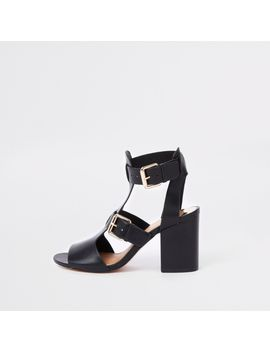 Black Double Buckle Shoe Boots by River Island