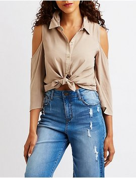 Button Up Cold Shoulder Top by Charlotte Russe