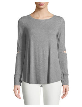 Long Sleeve Elbow Cutout Tee by Neiman Marcus