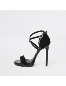 Black Barely There Platform Sandals by River Island