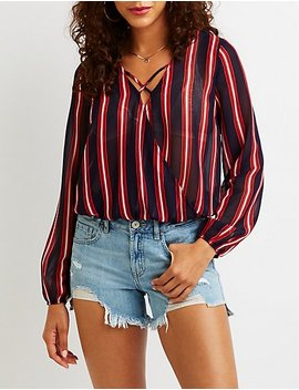 Striped Surplice Top by Charlotte Russe