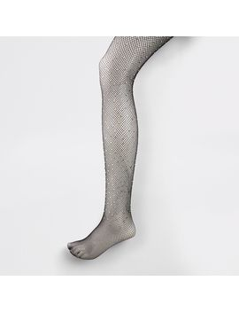 Black Gem Embellished Fishnet Tights by River Island