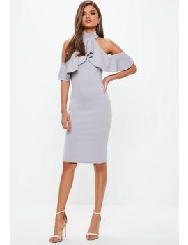 Gray High Neck Frill Cold Shoulder Midi Dress by Missguided