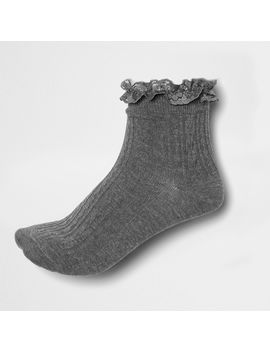 Grey Lace Frill Socks by River Island