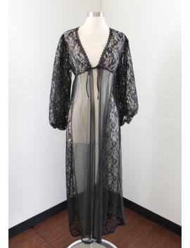 Vtg Black Sheer Lace Tie Front Robe Size S Gothic Elegant by Berrett