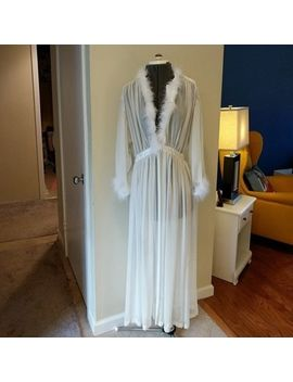 Vintage Victoria's Secret Sheer Ivory Robe Feather Boa & Satin Trim One Size by Victoria's Secret