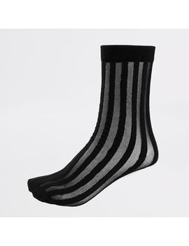 Black Sheer Stripe Ankle Socks by River Island