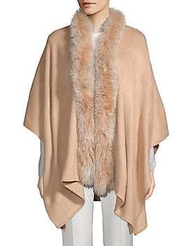 Natural Fox Fur Herringbone Cape by Belle Fare