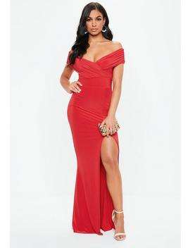 Red Bardot Wrap Slit Slinky Maxi Dress by Missguided