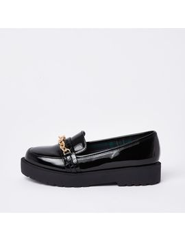 Black Wide Fit Chunky Chain Loafers by River Island