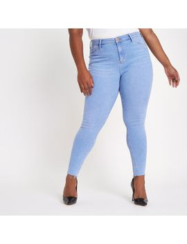 Plus Light Blue Wash Molly Mid Rise Jeggings by River Island