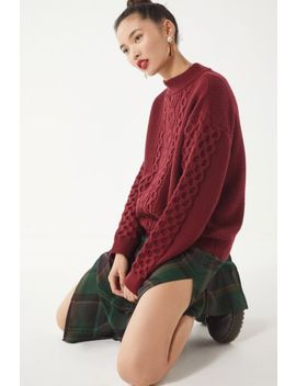 Uo Austin Mock Neck Cable Knit Sweater by Urban Outfitters