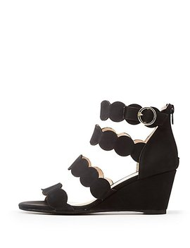 Qupid Four Band Scallop Wedge Sandals by Charlotte Russe