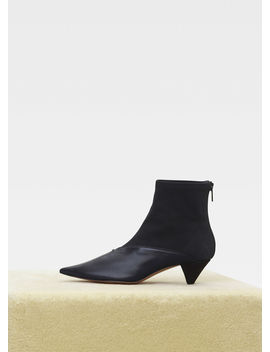 Soft V Neck Ankle Boot In Gros Grain Stretch And Nappa Lambskin by Celine