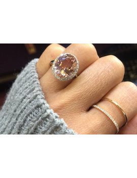 14 K White Gold Oval Morganite Peach Champagne Beige Diamond Halo Engagement Ring Vintage 12x10mm by A Sweet Pear