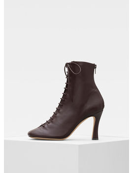 Glove Bootie Laced Ankle Boot In Nappa Lambskin by Celine