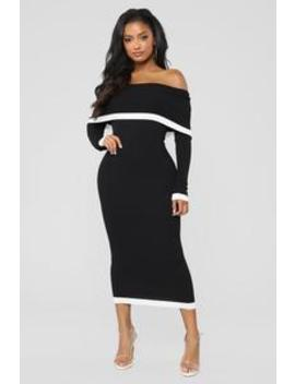 Will You Be Mine Dress   Black/Off White by Fashion Nova