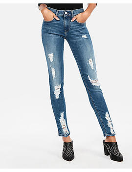Mid Rise Stretch Super Skinny Ripped Jeans by Express