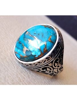 Copper Blue Turquoise 925 Silver Ring Jewelry Wedding Engagement Party Size 6 10 by Unbranded
