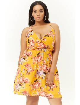 Plus Size Chiffon Floral Surplice Mini Dress by Forever 21