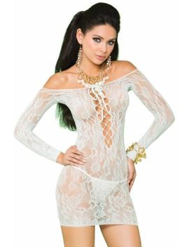 Long Sleeve Lace Mini Dress Lace Up Sheer Sexy Micro Off Shoulder Sleepwear by Elegant Moments