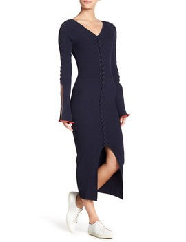 Lace Up Ribbed Knit Midi Dress by Opening Ceremony