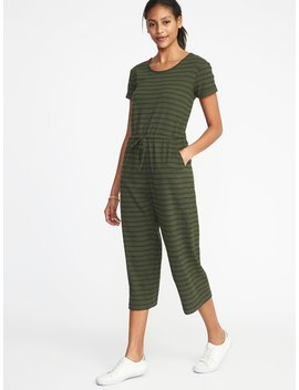 Waist Defined Wide Leg Bouclé Jersey Jumpsuit For Women by Old Navy
